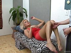 Petite blonde tranny in red dress, Gianna Rivera got banged in her bedroom very hard