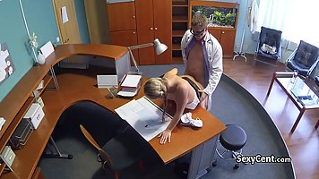 Hot blonde babe is working in the hospital and often getting fucked in her office