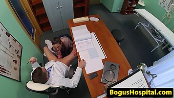 Hot patient is pleasing her doctor in the office, while a horny voyeur is making a video