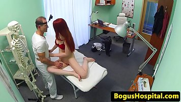 Red haired babe went to the hospital and got fucked the way she always wanted