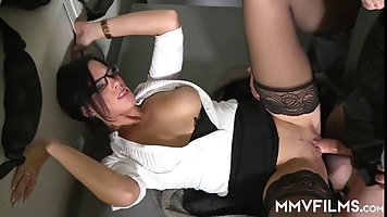 Super hot, German brunette and elderly guys are often having casual sex, just for fun