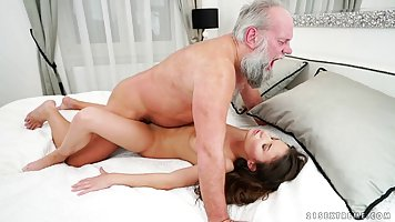 Anita Bellini is having sex with an elderly man and enjoying every second of it