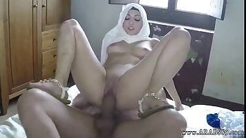 Arabic woman with a head scarf likes to ride a rock hard cock, like a whore