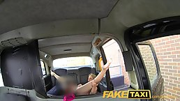 Horny blonde took off her pink shirt in the taxi and got her tight ass fucked