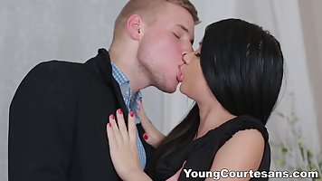Slutty brunette in erotic lingerie is fucking her friend's boyfriend, every once in a while