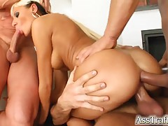 Sexy blonde, Timi likes to feel three rock hard dicks inside her at the same time