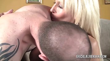 Horny blonde milf took off her dress and panties and had sex with a younger guy