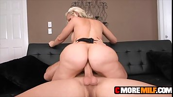 Beautiful blonde milf, Alena Croft is wearing erotic lingerie while getting fucked from the back