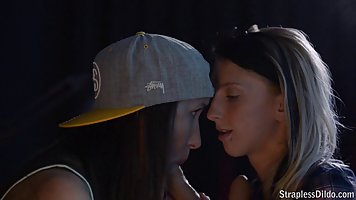 Two horny teens are having a great fuck time together, while in a dark room