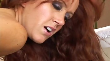 Red haired housewife is rubbing her pussy while her lover is fucking her ass hole