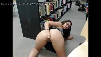 Lovely brunette masturbated in the library for the first time ever, and experienced an orgasm