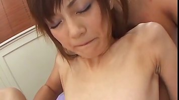 Asian babe, Anna Watase is moaning loudly, while her new partner is slapping her ass