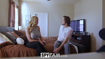 Blonde woman, Olivia Austin invited a handsome man to her bedroom, to fuck him all day