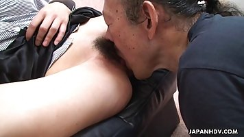 Old, Asian man likes to lick fresh pussy quite often, because it excites him a lot