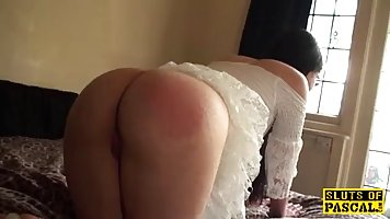 Horny, British brunette likes to bend over and get spanked, before she gets fucked good