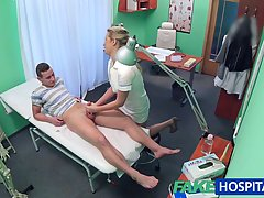 Lusty nurse is fucking her patient during a coffee break, because they are both very horny