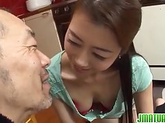 Asian housewife is fucking a handyman because her husband is not giving her enough of pleasure
