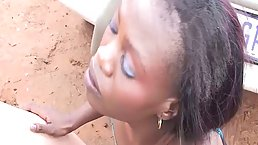 Black babe is getting fucked from the back, in the nature, in the middle of the day