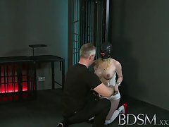Kinky, tattooed babe got chained and dominated the way every sex slave likes to be