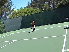 Big titted babe, Cherie Deville is playing tennis while her boyfriend is watching her in action