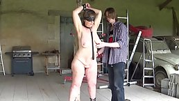 Nude woman got tied up and blindfolded, because her young lover liked it like that