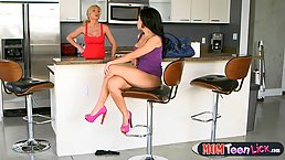 Sensual milf likes to finger her step- daughter's pussy while they are passionately making love