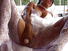 Busty milf  bride is caressing her wet pussy as her groom is waiting for her