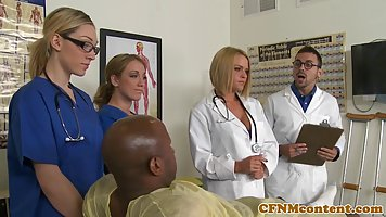 A horny black patient is fucking a sweet nurse who loves to suck hard cocks