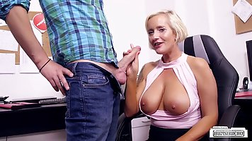 German milf with blonde hair and big tits is always in the mood to have sex