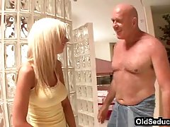 Naughty blonde seduced her best friend's dad and ended up with his dick in her pussy