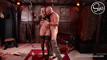 Wicked blonde lady is having a hardcore sex adventure with a bald guy she likes